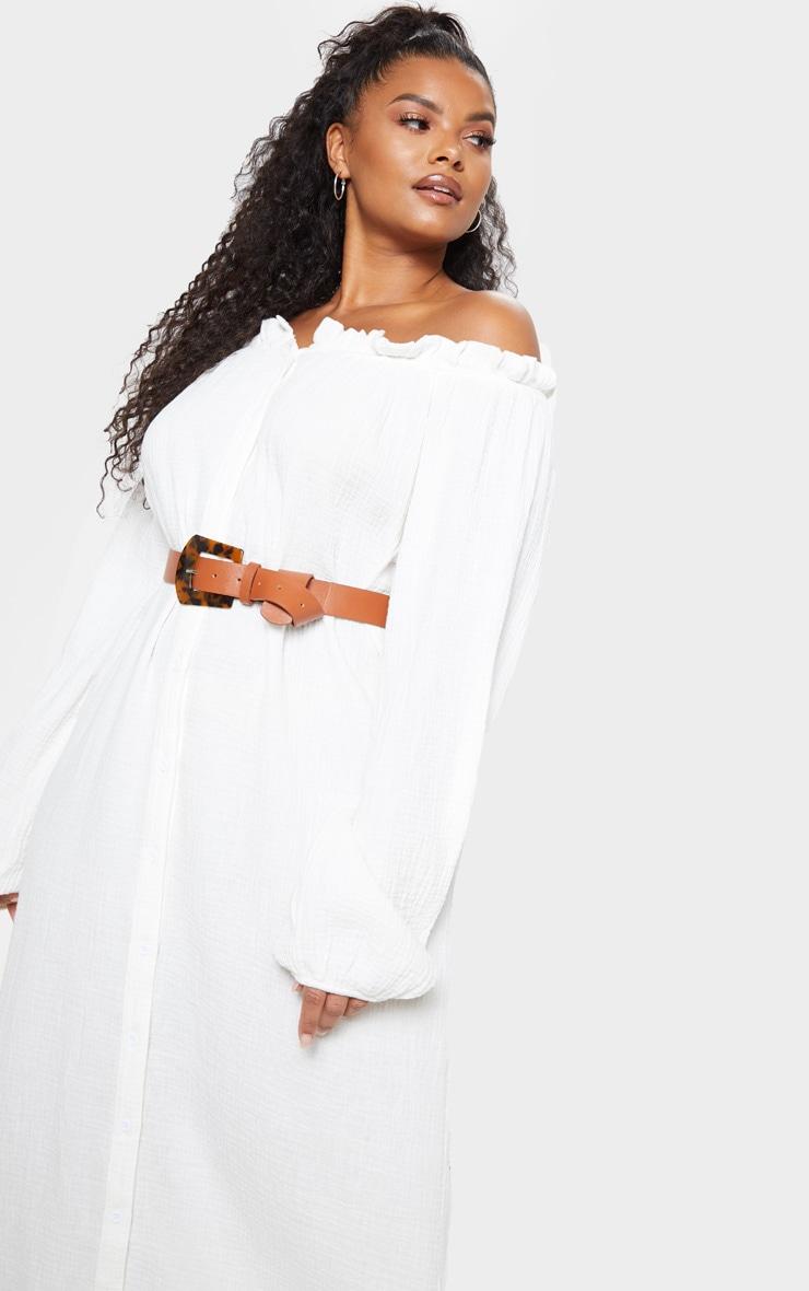 Plus White Bardot Frill Hem Maxi Dress 5
