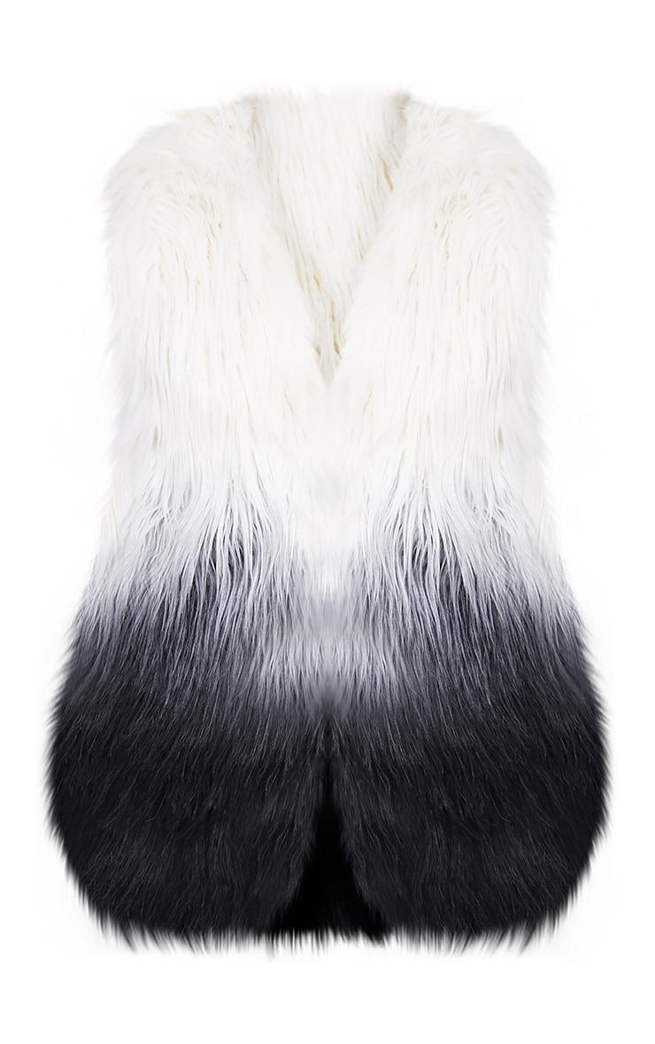 Cher veste sans manche noire ombrée en fausse fourrure 3