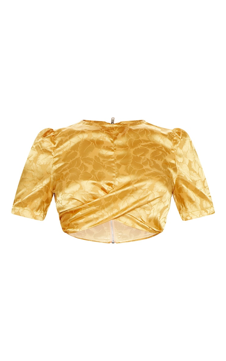 Mustard Satin Jacquard Short Sleeve Crop Top 3