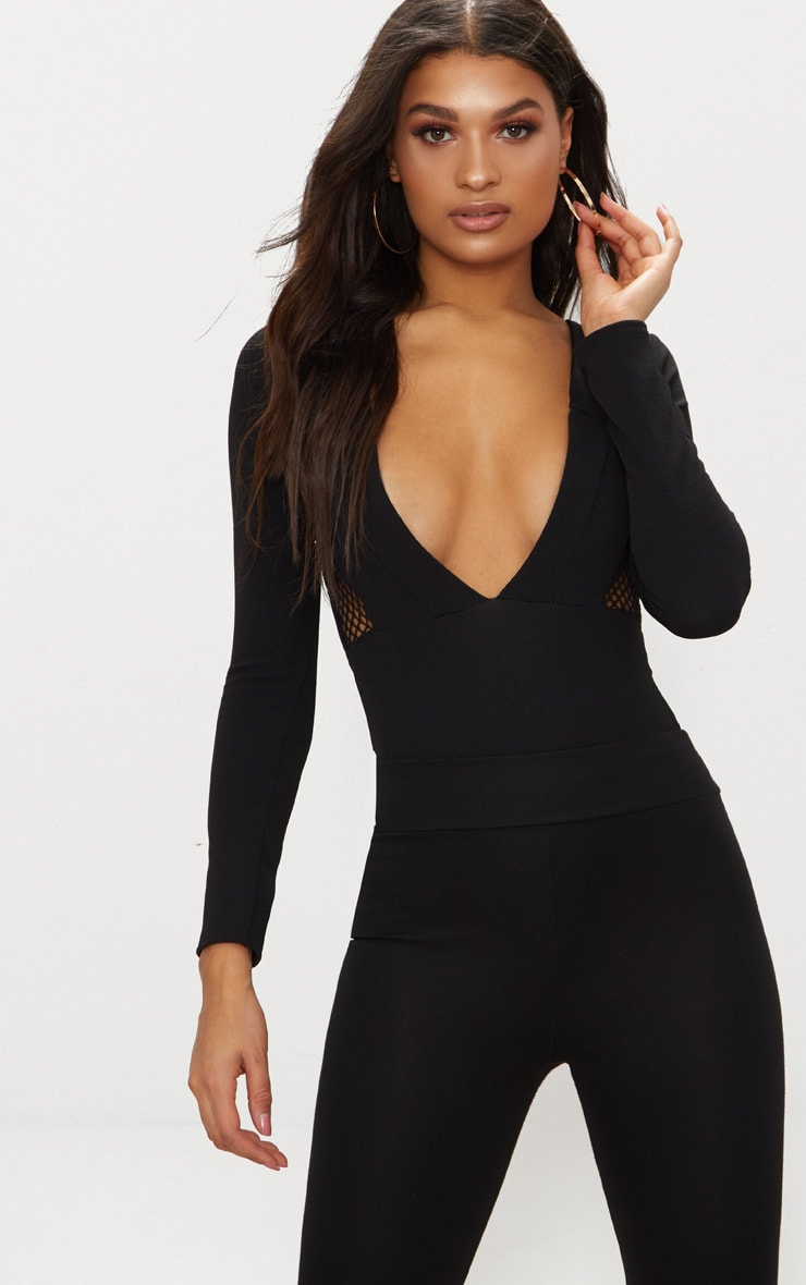 Outlet Collections 2018 New PRETTYLITTLETHING Crepe Fishnet Panel Long Sleeve Thong Bodysuit Outlet Eastbay Clearance Amazon Free Shipping Wide Range Of nTpOTK