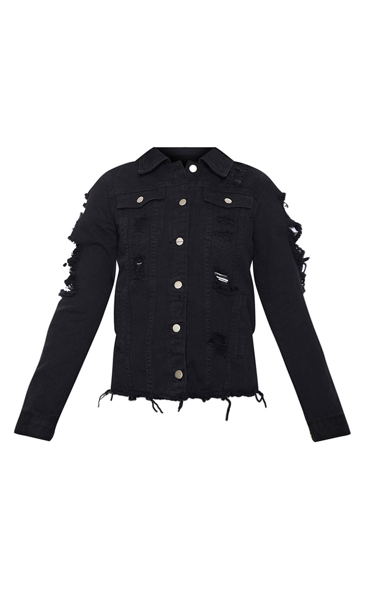 Abegaila Black Distress Oversized Denim Jacket 3