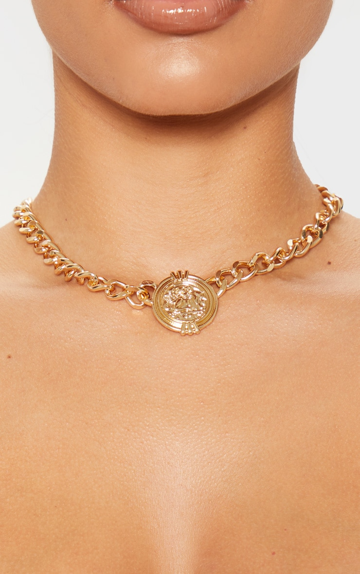 Gold Chunky Chain Cherub Coin Necklace 2