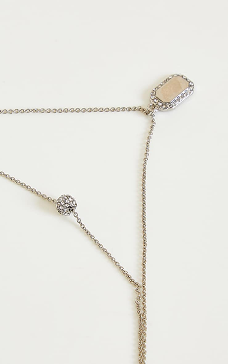 Silver Diamante Tag And Ball Charm Layering Necklace 3