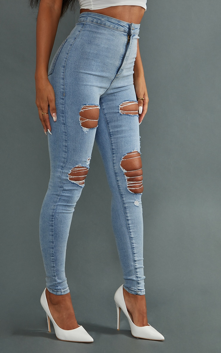 PRETTYLITTLETHING Vintage Wash Ripped Disco Skinny Jeans 2
