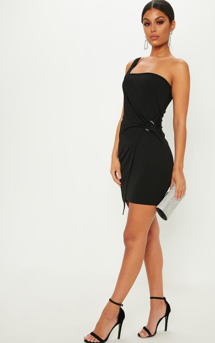 723f01dd14b Black One Shoulder Ring Detail Bodycon Dress image 1