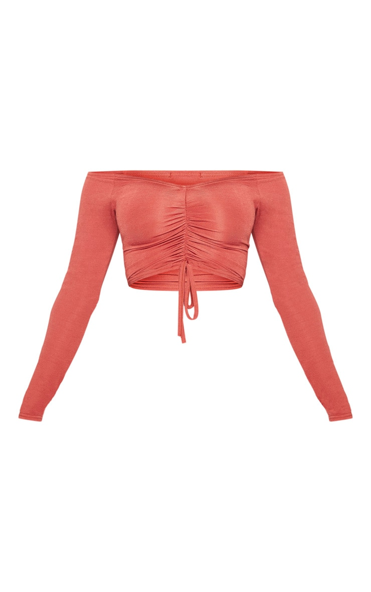 Shape Rust Slinky Ruched Bardot Crop Top 3