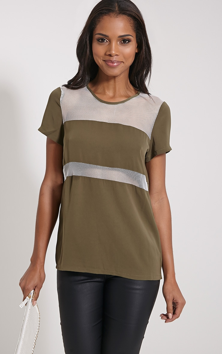 Bexley Khaki Fishnet Panel T-Shirt 1