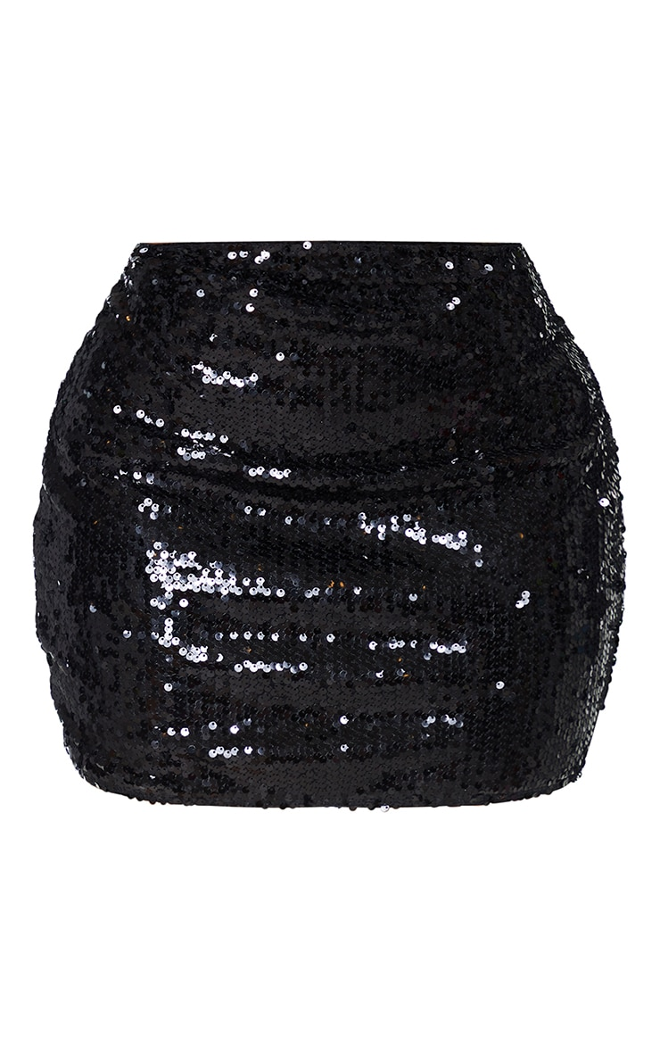 Shape - Jupe moulante en sequins noirs 6
