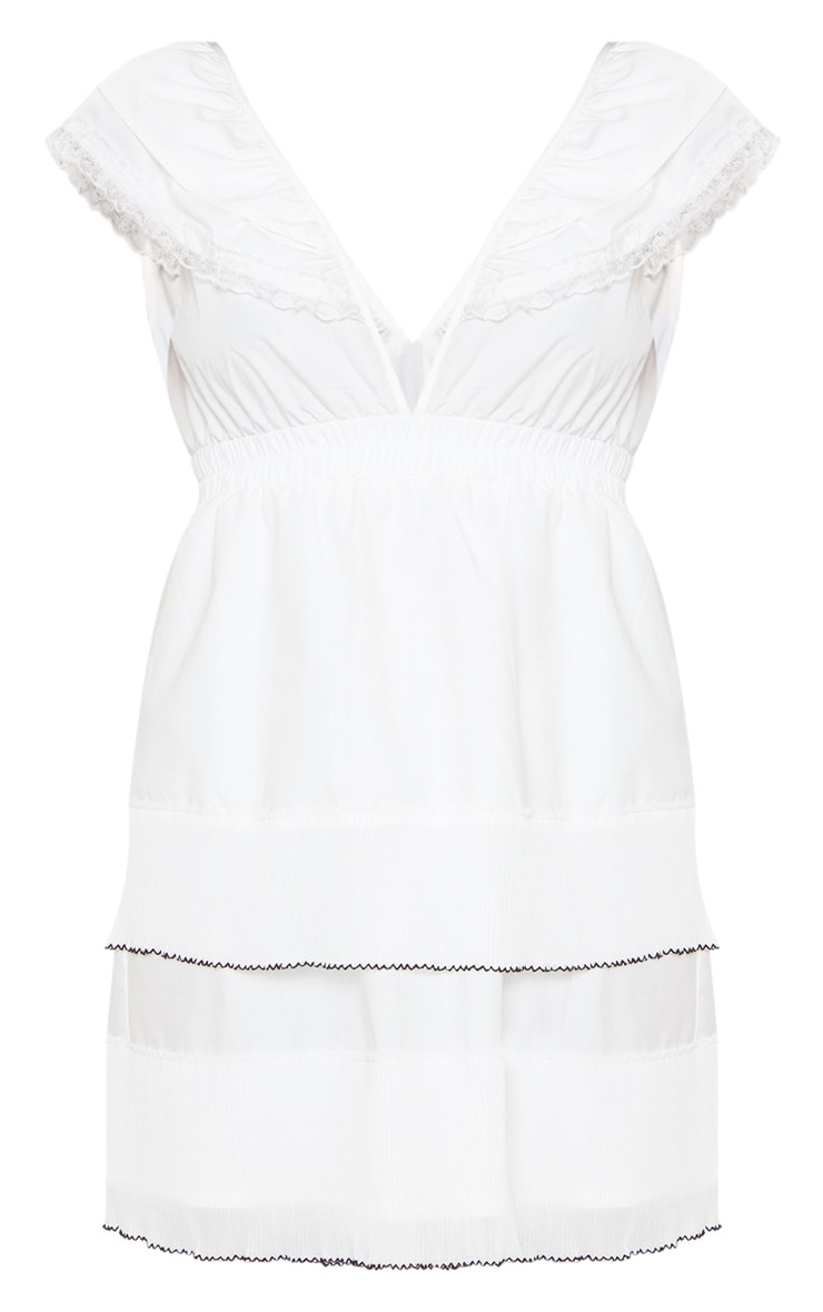 White Tiered Ruffle Shift Dress 3