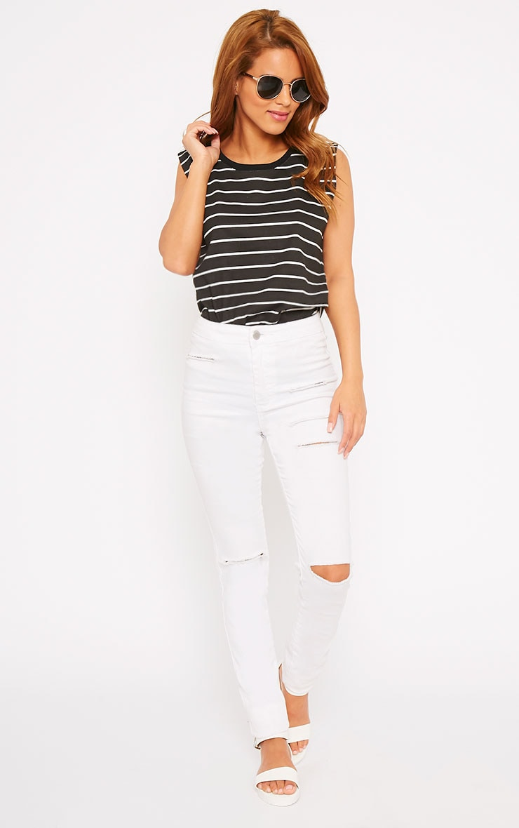 Lisbet Black Stripe Vest Top 4