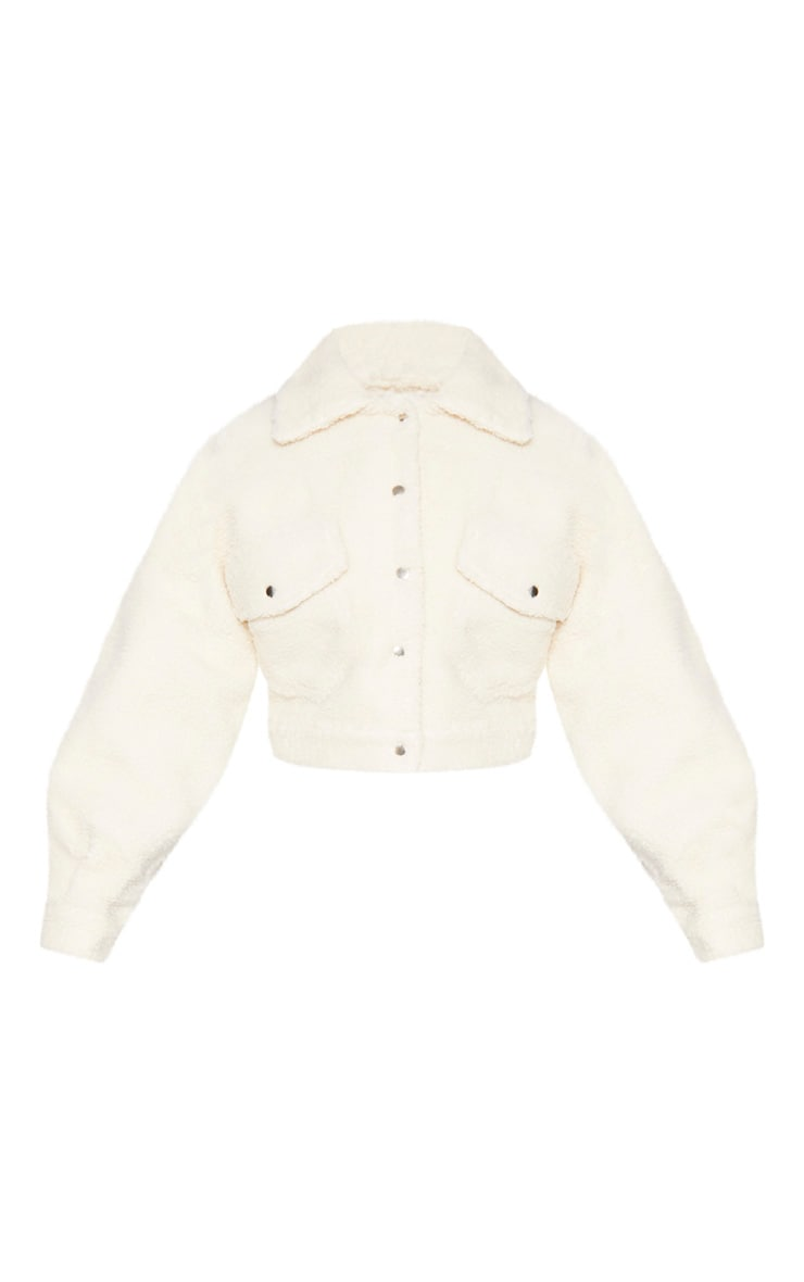 Cream Borg Cropped Trucker Jacket 4
