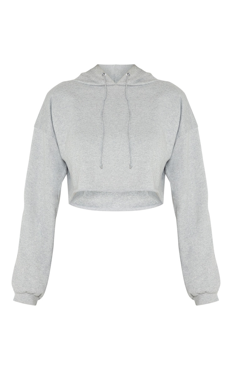 PRETTYLITTLETHING Tall Grey Marl Cropped Hoodie 3