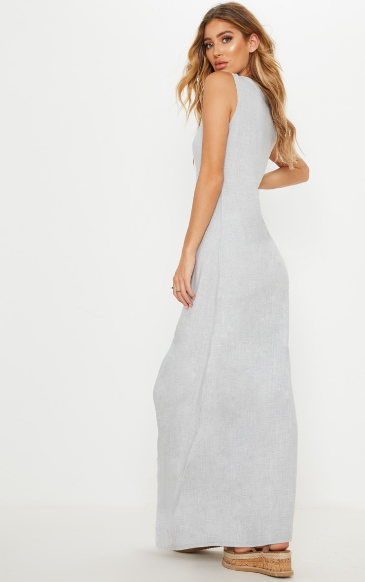 Pale Grey Tortoise Shell Button Up Maxi Dress 2