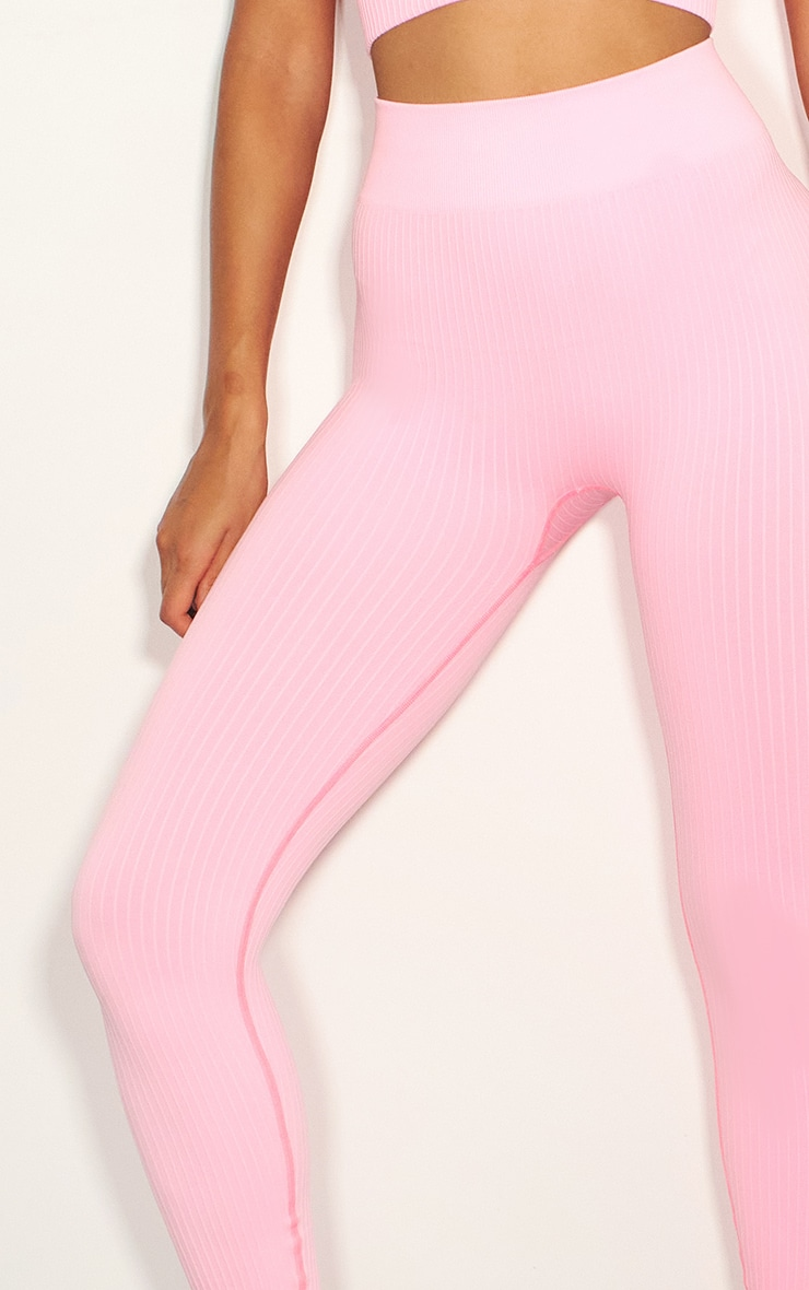 Pink Premium Ribbed Seamless Legging 4