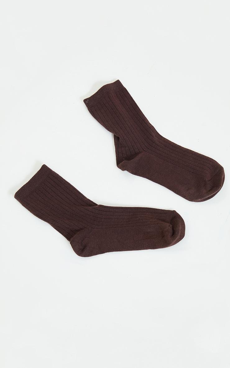 Chocolate Ribbed Ankle Socks 3