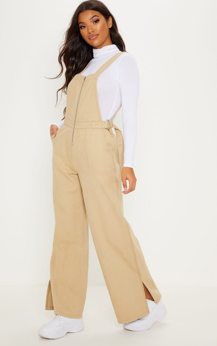 Stone Zip Through Dungarees