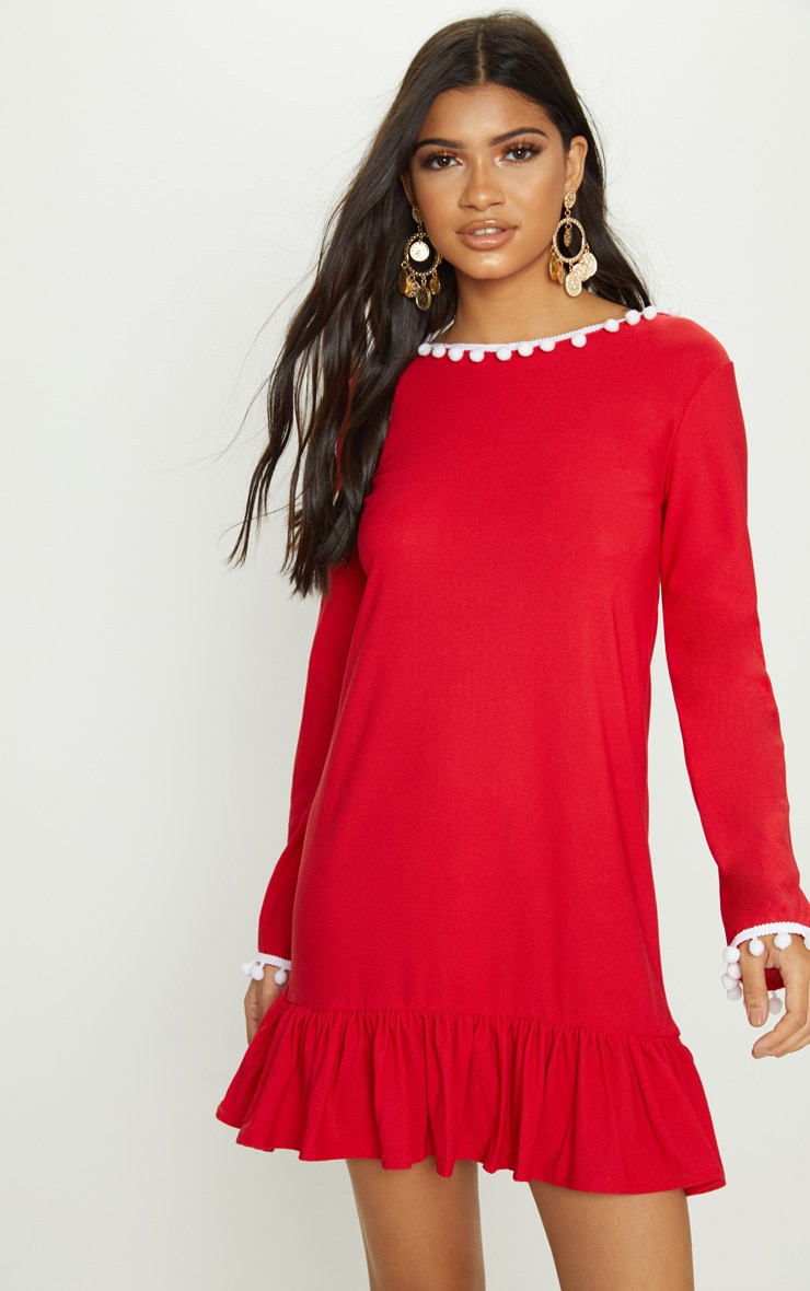 Red Pom Pom Trim Backless Smock Dress 2
