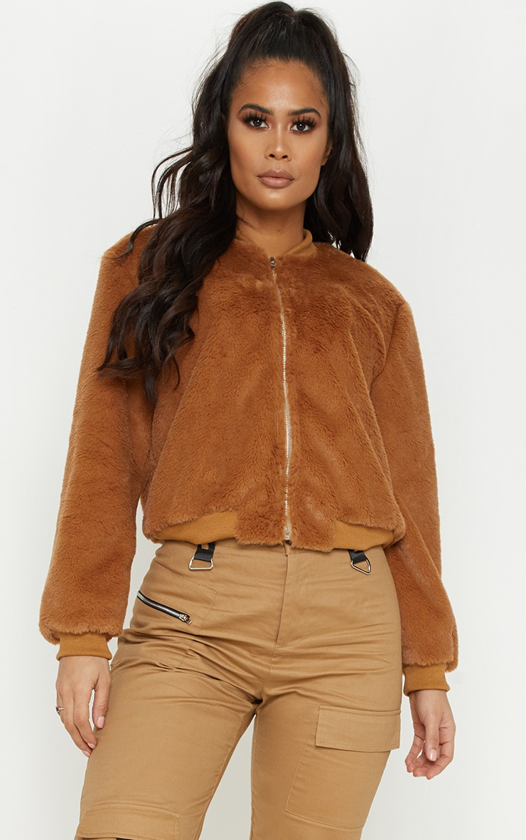 Taupe Faux Fur Cropped Bomber  1