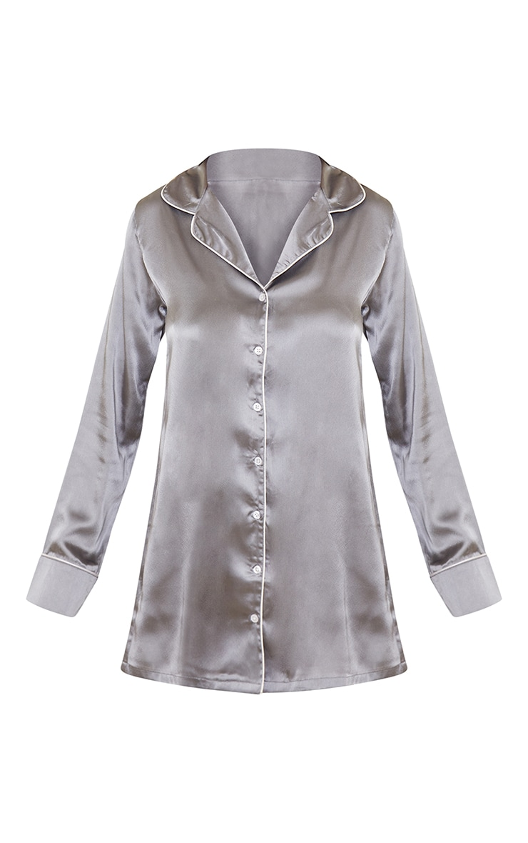 Grey Mix And Match Piped Detail Satin Nightshirt 5
