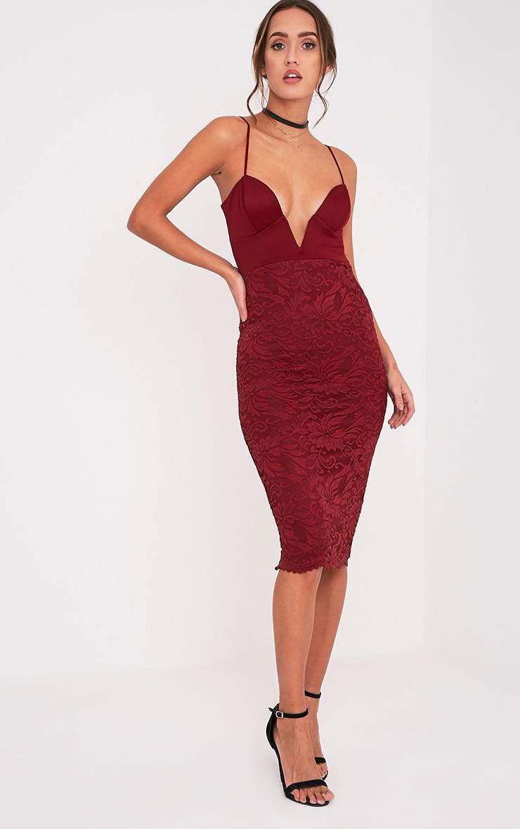 Nikolah Wine Plunge Lace Skirt Midi Dress 1