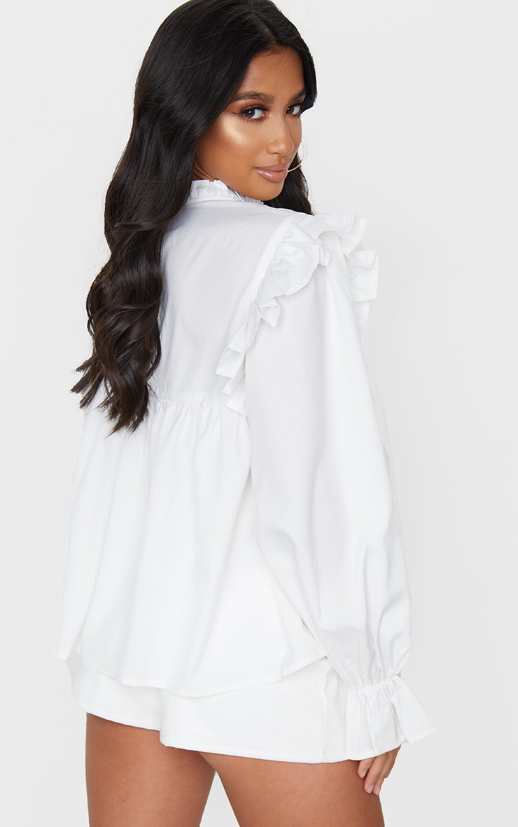 Petite Cream Frill Detail Long Sleeve Blouse 2
