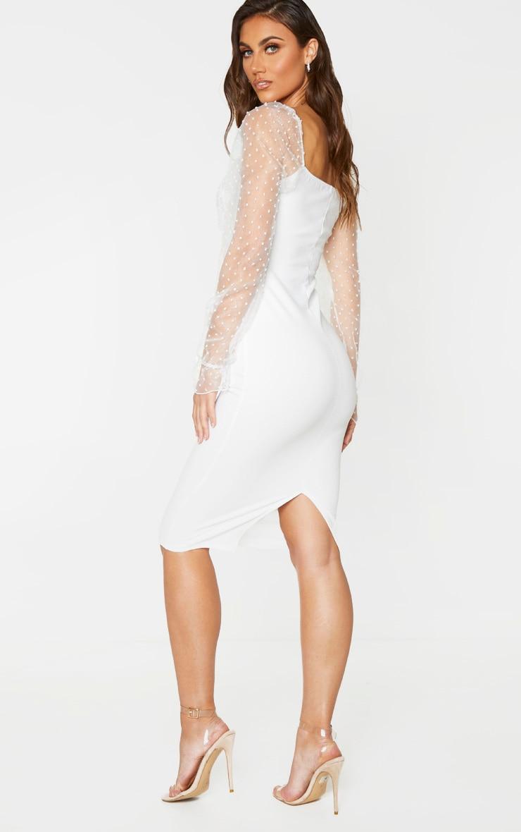White Dobby Mesh Puff Sleeve Midi Dress 2