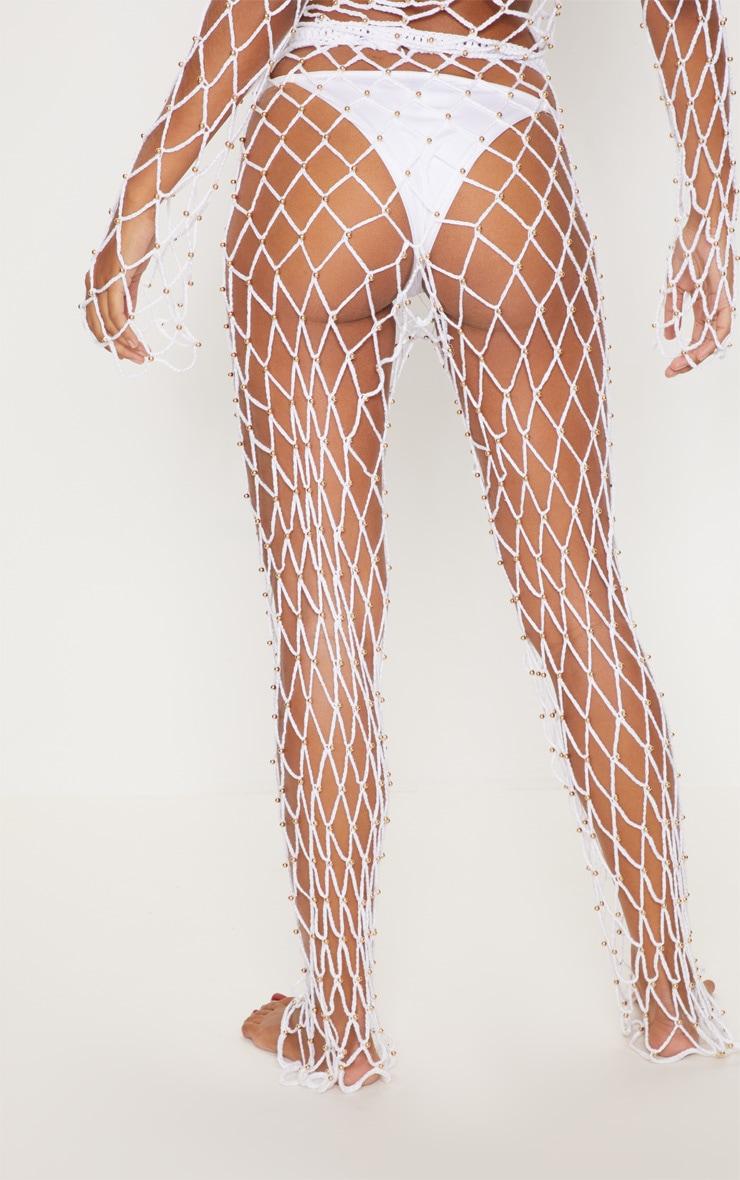White Crochet Beaded Trousers 3