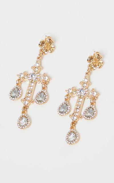 Gold Ornate Diamante Cross Earrings