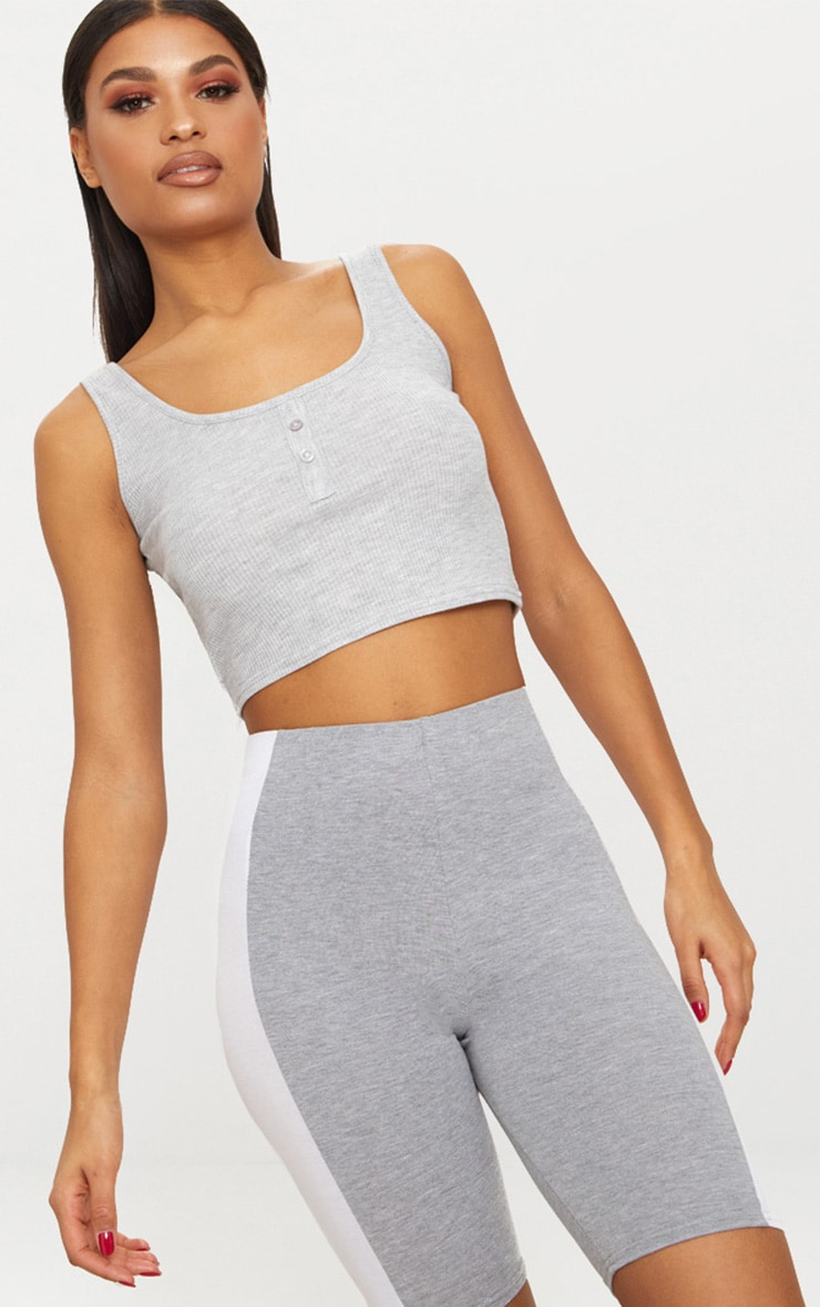 Grey Button Front Rib Crop Top