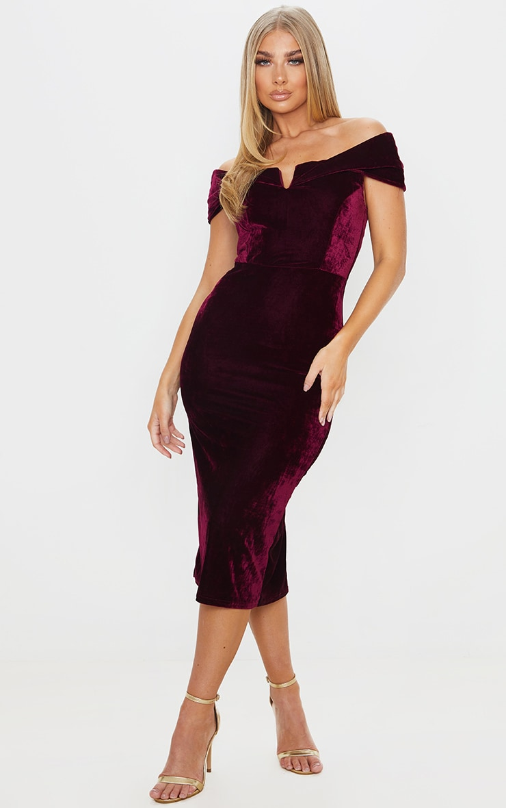 Burgundy Velvet Bardot V Bar Midi Dress 1