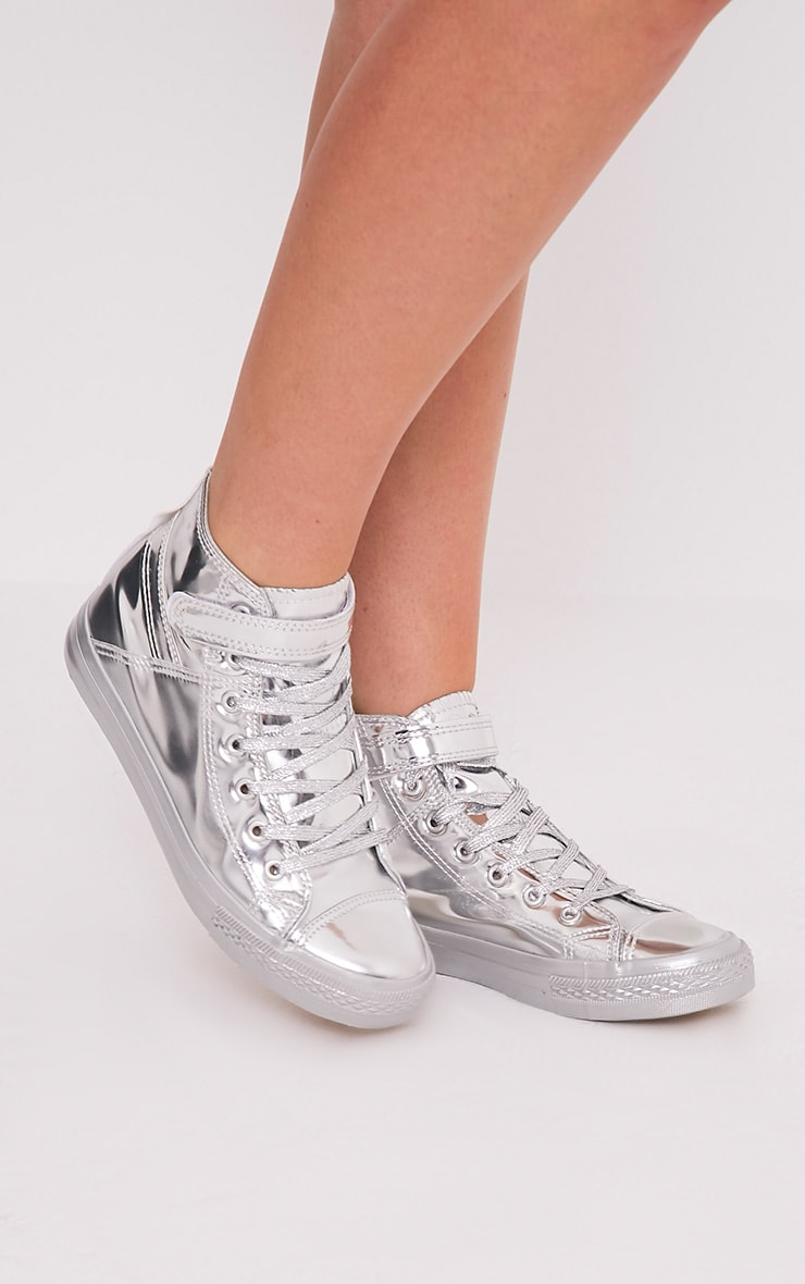 Oona Silver Metallic High Top Sneakers 3