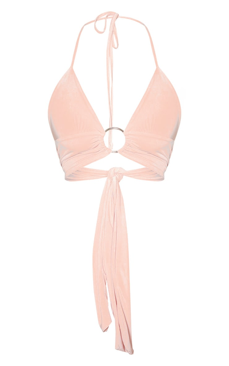 Peach Plunge Ring Detail Bralet 3