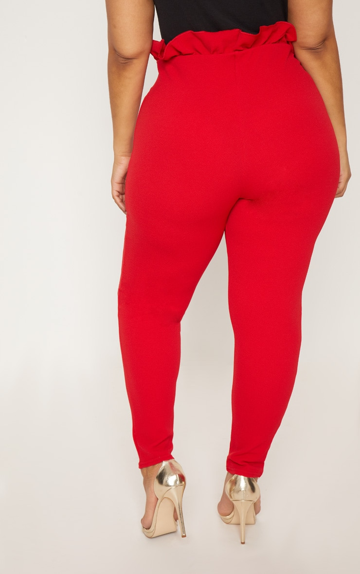 Plus Red Paperbag Skinny Trousers 4