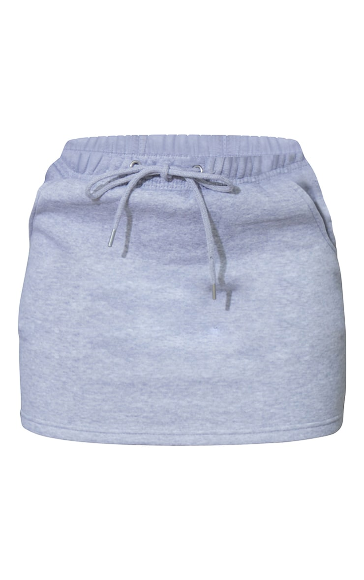 Grey Sweat Drawstring Waist Mini Skirt 6