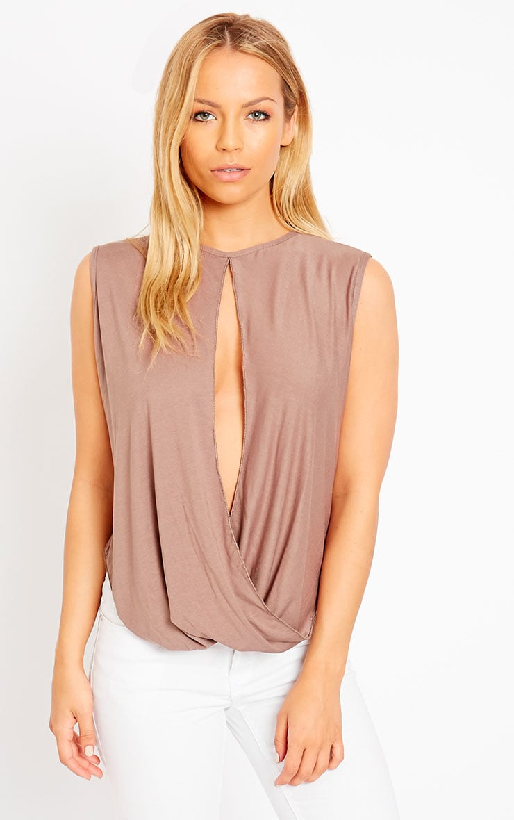 Brandi Mocha Jersey Cross Over Top 1