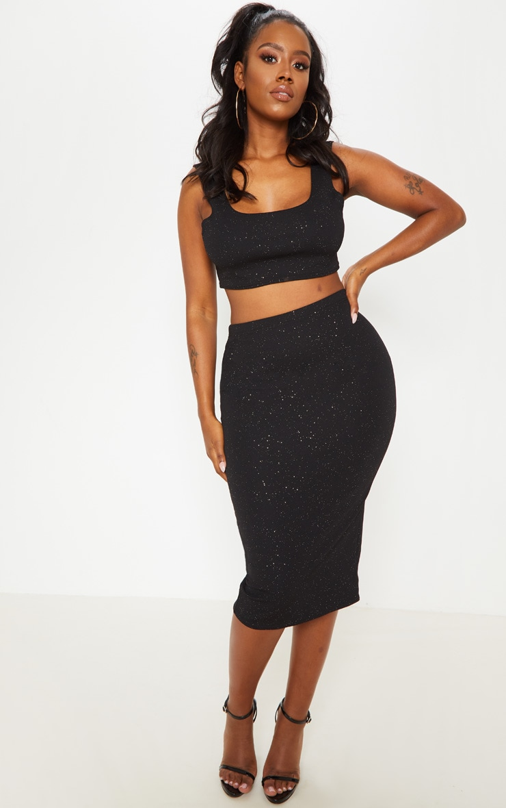 Shape Black Crepe Glitter Midi Skirt 1