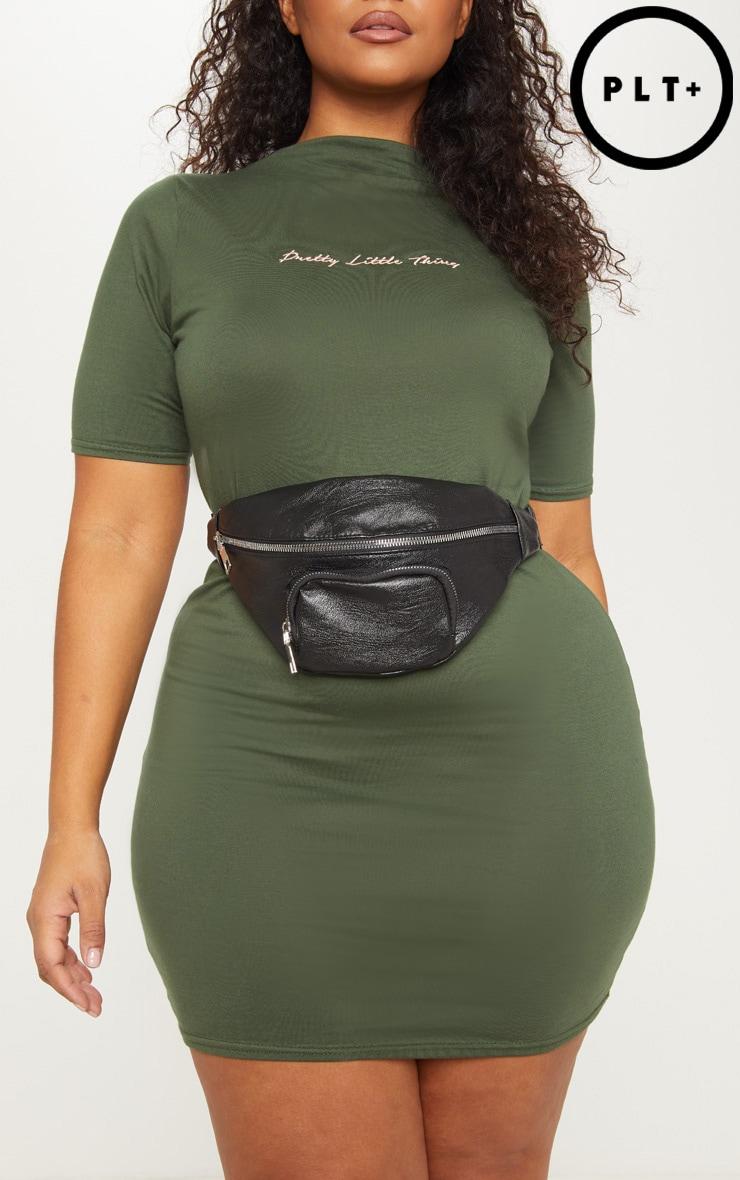 Plus Black Double Zip Detail Faux Leather Bum Bag