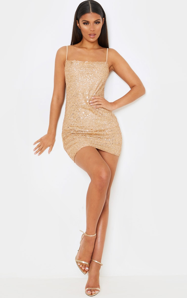 Rose Gold Strappy Sequin Glitter Detail Bodycon Dress 4