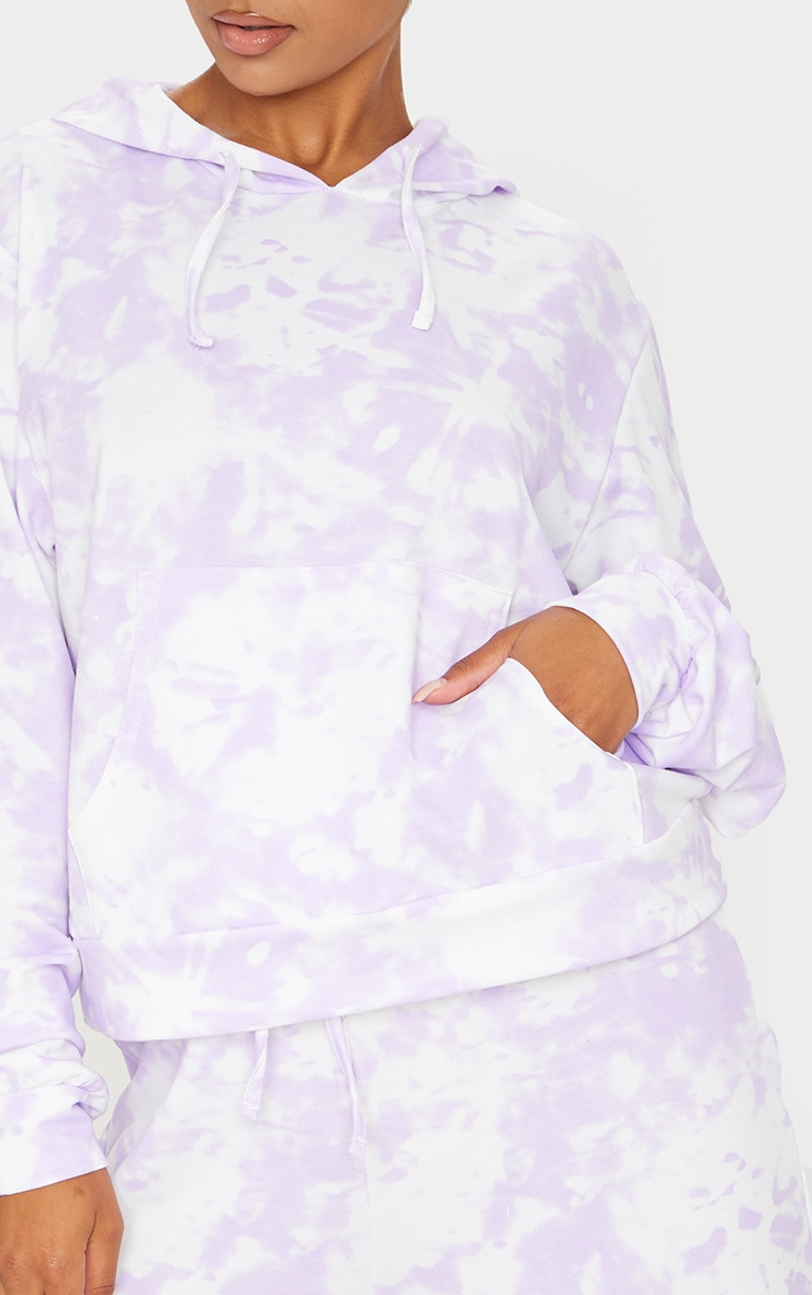 Purple Tie Dye Lightweight Pocket Front Oversized Hoodie 4