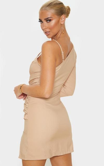 Stone Asymmetric Drape Split Bodycon Dress