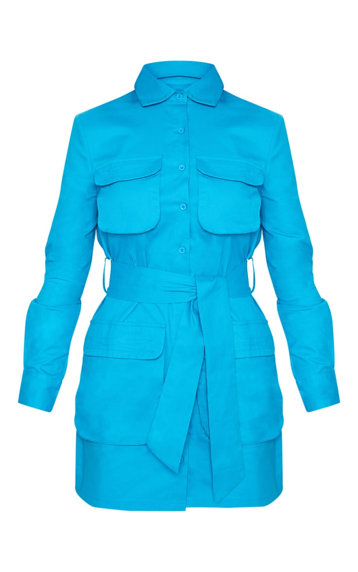 Blue Utility Tie Waist Shirt Dress 3