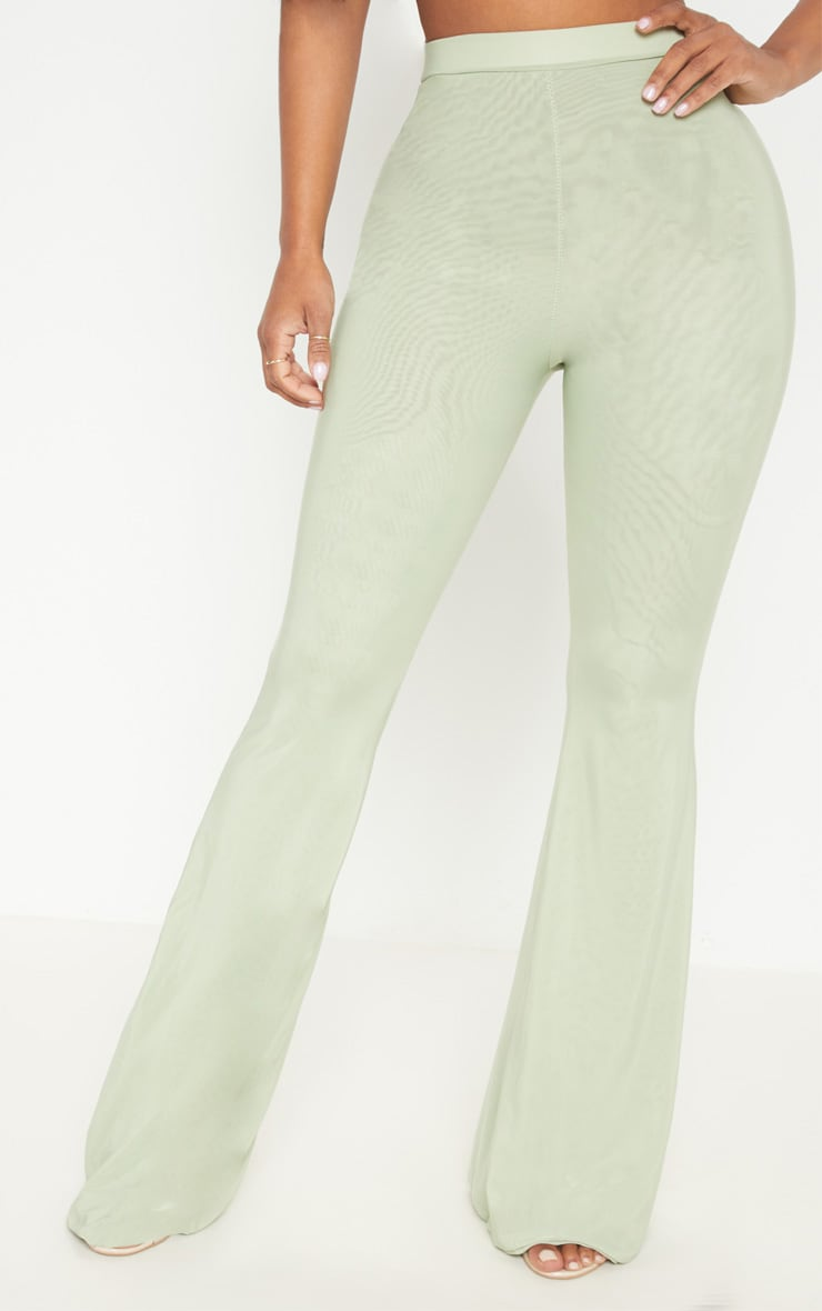 Shape Sage Green Slinky Flared Trousers 2