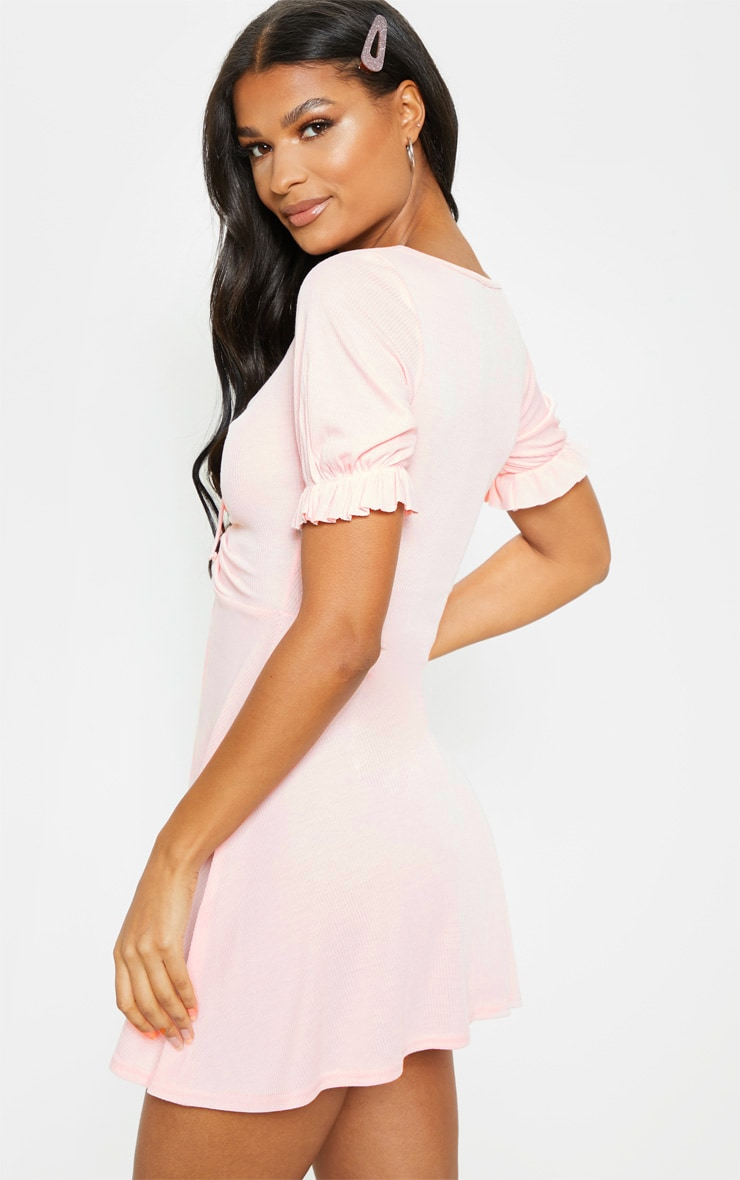 Baby Pink Rib Ruched Front Skater Dress  2