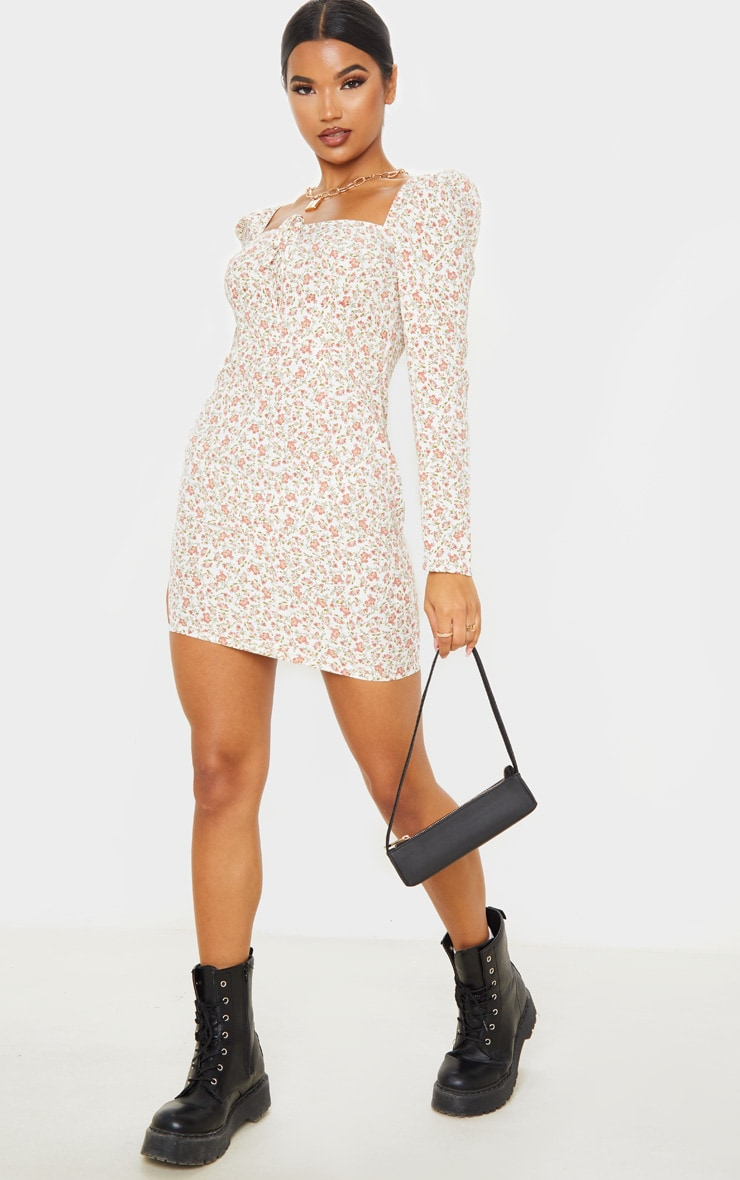 Cream Floral Square Neck Shift Dress  4