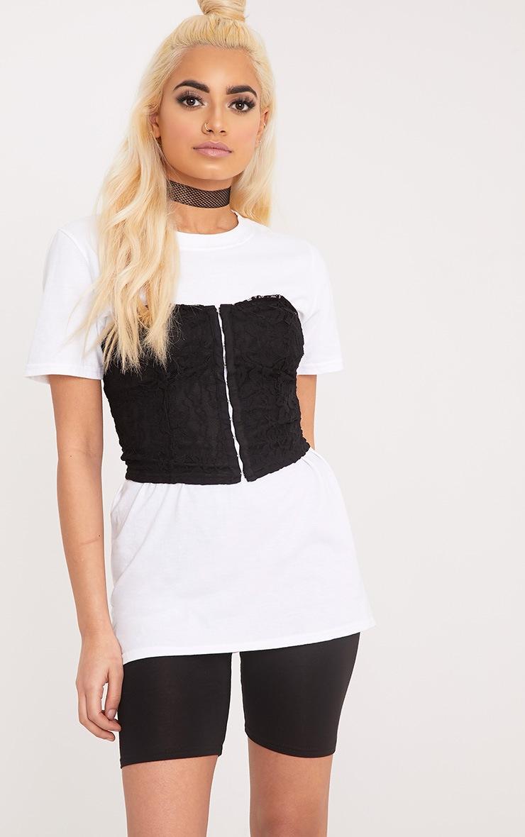 Arlene White Lace Corset Detail T Shirt | Tops ...