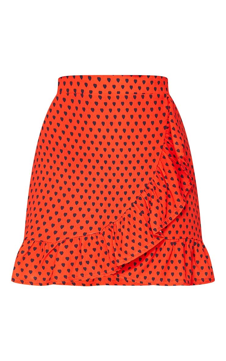 Red Heart Print Frill Hem Wrap Mini Skirt 6