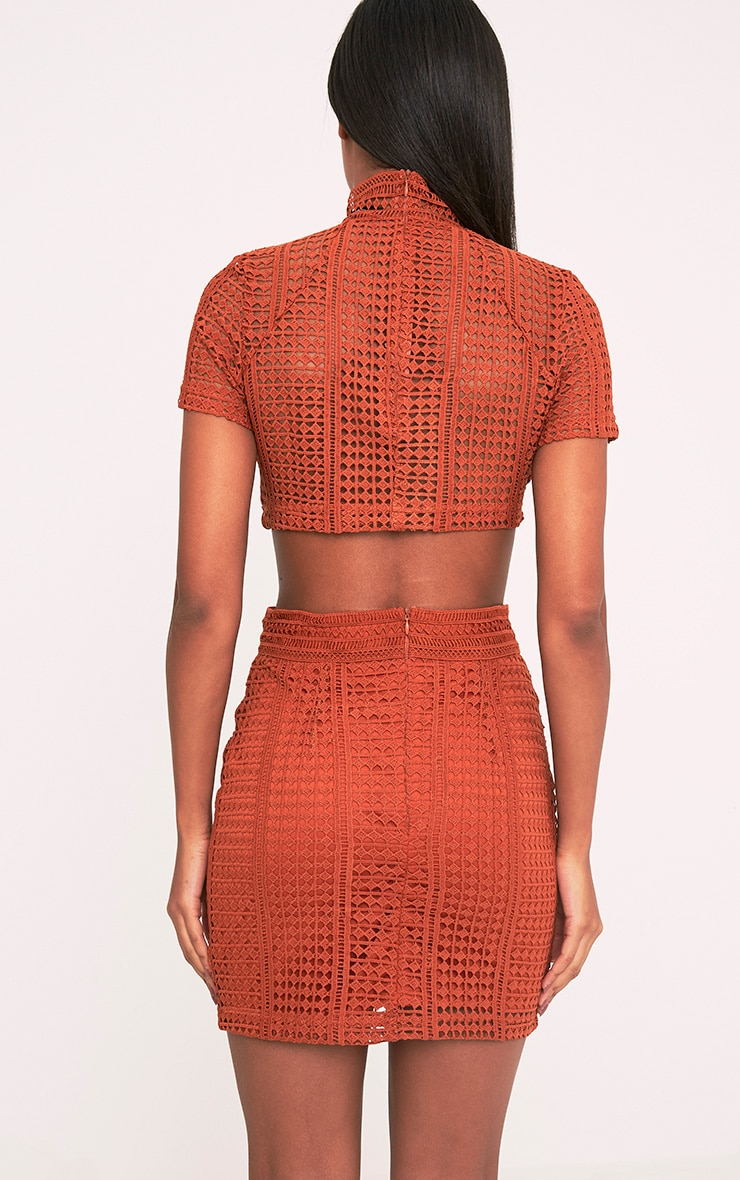 Nadene Tobacco Crochet Lace Crop Top 2