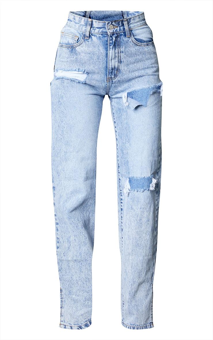 Ice Blue Ripped Split Hem Jeans 5