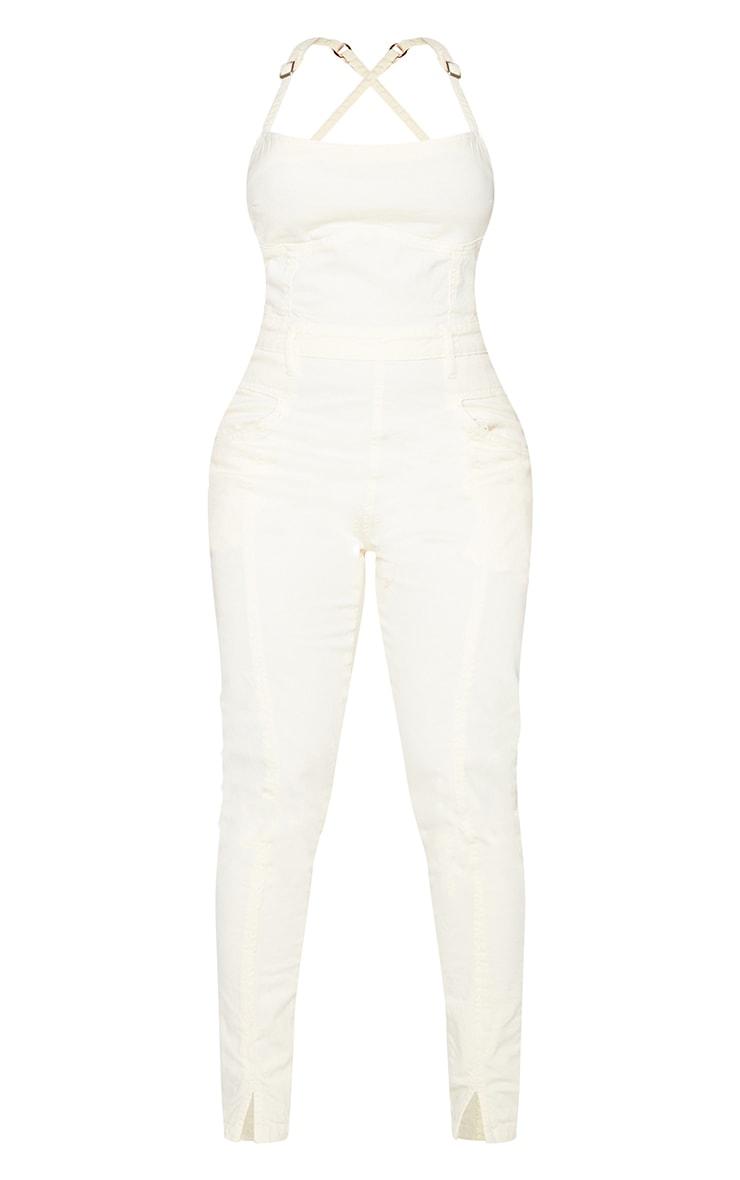 Shape Ecru Underbust Seam Detail Tie Back Denim Jumpsuit 5