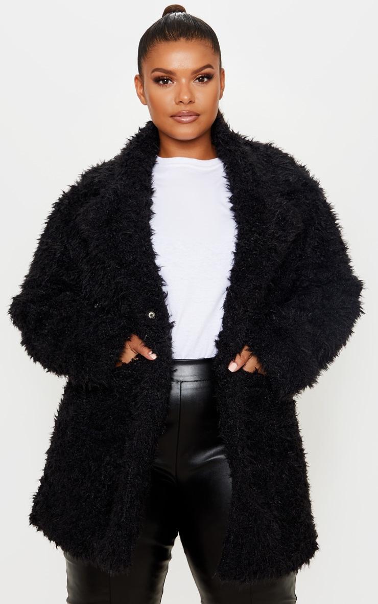 Plus Black Teddy Faux Fur Collar Coat 1